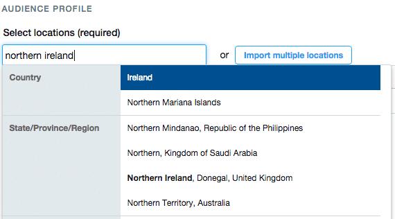 northern ireland target twitter ads