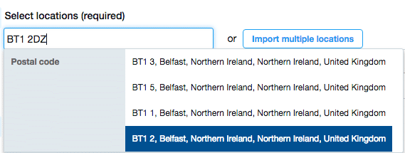 how to target northern ireland twitter ads