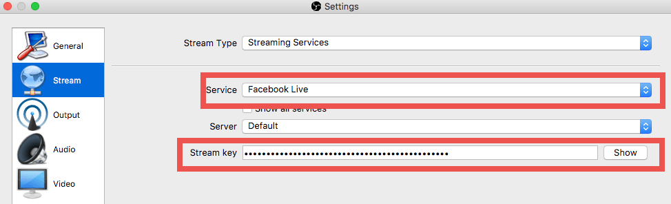 Stream key obs