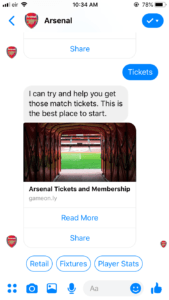 arsenal chatbot example