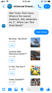 universal studios chatbot