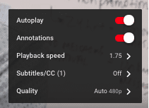 YouTube Speed Settings
